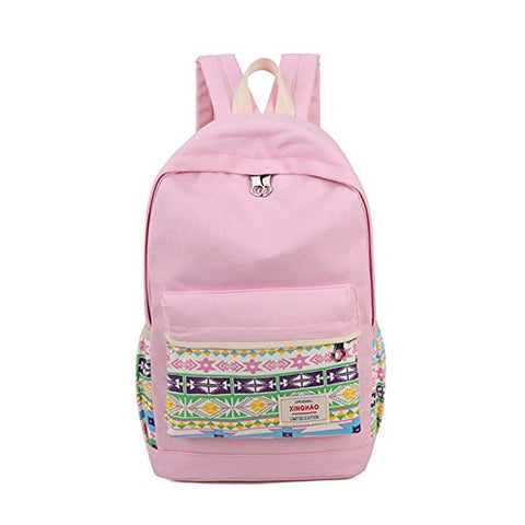 Chic Star Square Multi Function Backpack Schoolbag Pink