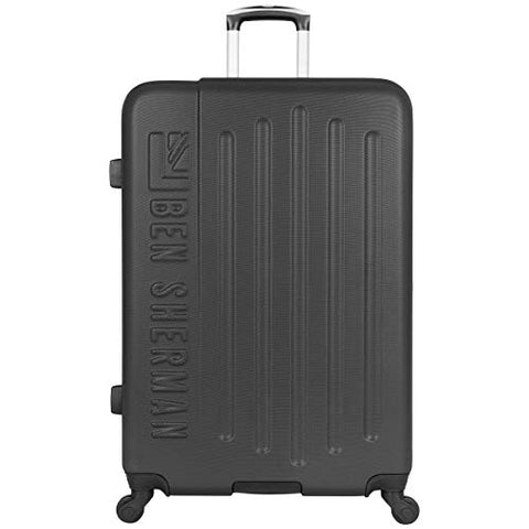"Ben Sherman Leicester 28"" Lightweight Durable Hardside 4-Wheel Spinner Checked Suitcase, Black With"