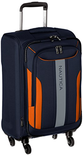 Nautica Gennaker 20 Inch Expandable Luggage Spinner, Navy/Orange