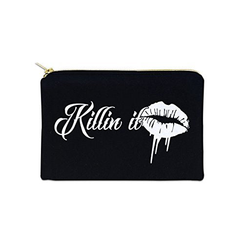 Killin It 12 oz Cosmetic Makeup Cotton Canvas Bag - (Black Canvas)