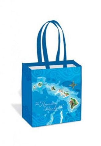 Isle Heritage Tote Bag Hawaii Map Island Blue, Green, White One Size