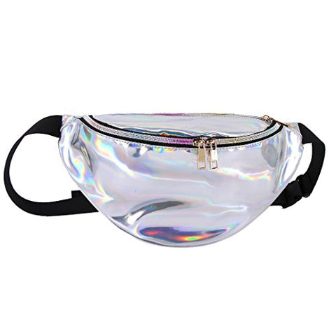 Aibearty Shiny Fanny Pack Rave Festival Leather Waist Pouch Man Women Sports Travel Running