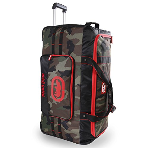 "Ecko Unltd. Men's United 32"" Large Rolling Duffel Bag, Camo/Red/Blue One Size"