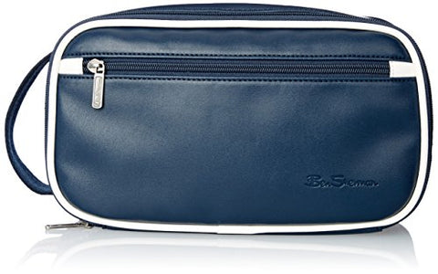 Ben Sherman Regent's Park Faux Leather Single Compartment Zip Around Travel Kit, Navy/White