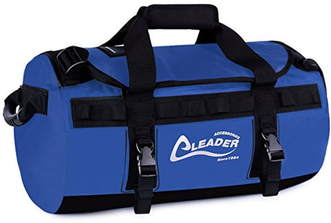 Leader Accessories Deluxe Water Resistant PVC Tarpaulin Duffel Bag Backpack (Blue, 70L)