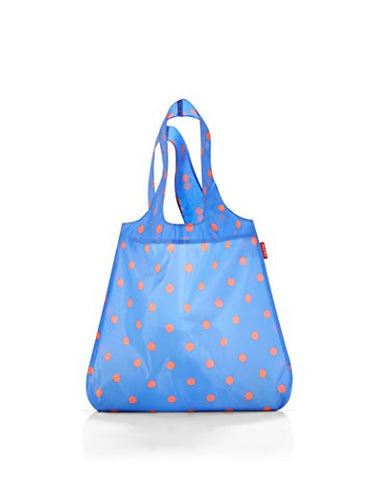 reisenthel AT4058 Mini Maxi Shopper, Foldable Reusable Shopping Tote with Elastic Band, 17L x 2-3/4W x 23-1/2H inches, Azure Dots