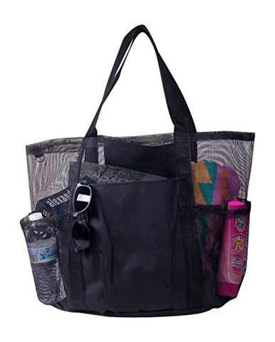 X-Large Carryall Mesh Family Beach Gym Bag Tote (Black)