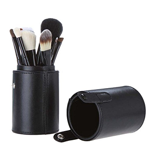 Voberry® Professional Faux Leather Makeup Brushes Holder Cosmetic Brush Container Cylinder Vessel (Black)
