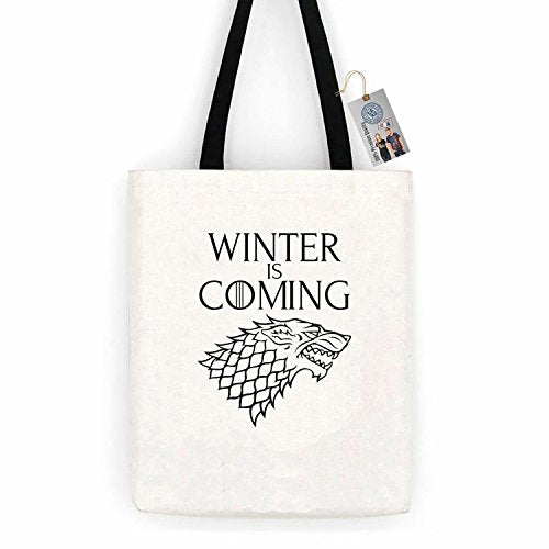 Games of Throne Winter is Coming Cotton Canvas Tote Bag Day Trip Bag Carry All