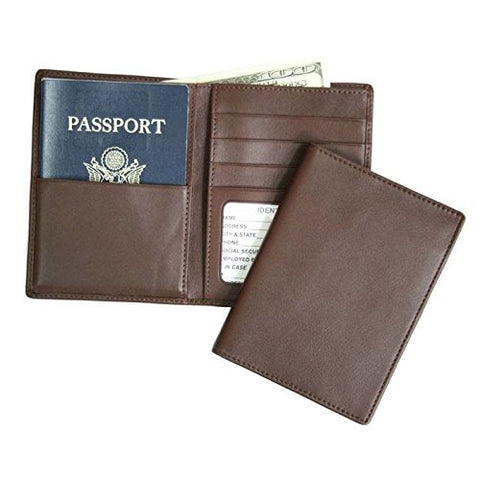 Royce Leather Rfid Blocking Bifold Passport Currency Travel Wallet Bi-Fold Wallet, Brown