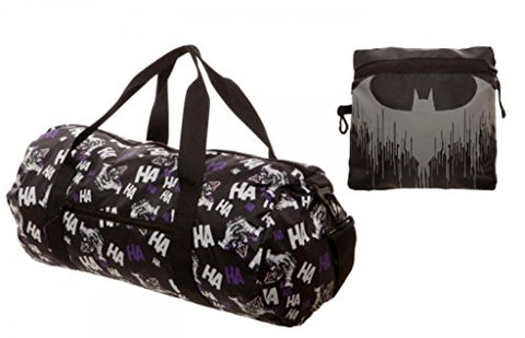 Dc Comics Batman'S Joker Licensed Black Packable Duffle Bag Gym Luggage Travel