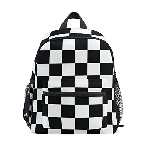 GIOVANIOR Black White Checked Travel School Backpack for Boys Girls Kids
