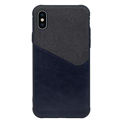 BeautyWill iPhone XR Card Holder Case Wallet Canvas PU Leather Coated Soft TPU Cover (Navy)