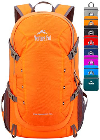 Venture Pal 40L Lightweight Packable Backpack with Wet Pocket - Durable Waterproof Travel Hiking Camping Outdoor Daypack for Women Men-Orange