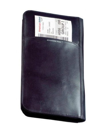 Cowhide Nappa Leather Passport Travel Organizer Color: Black, Closure: No Magnetic Snap