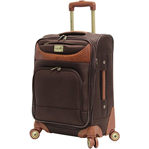 Caribbean Joe 20 Inch 8 Wheel Spinner Carry-On, Chocolate Brown, One Size
