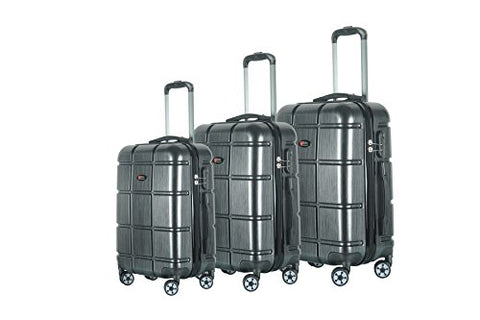 Brio Luggage ABS Hardside Luggage 3 Piece Set - Black