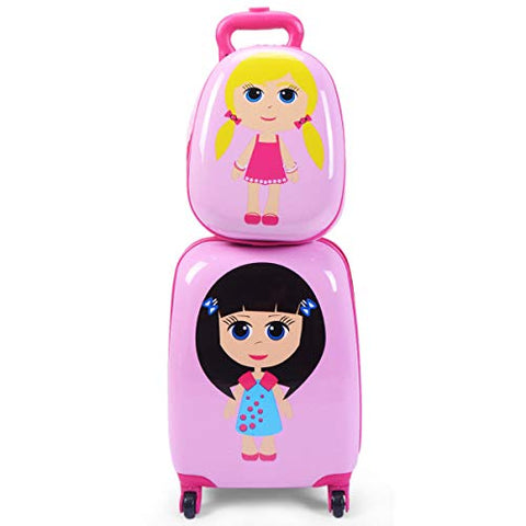"GHP 16""×12""×8.5"" ABS Kids Girl Shaped Trolley Suitcase Luggage w 12"" School Backpack"