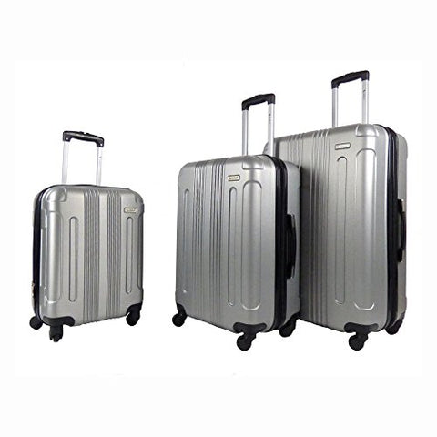 Amka Remus Hardside 3-Piece Expandable Spinner Upright Luggage Set, Silver