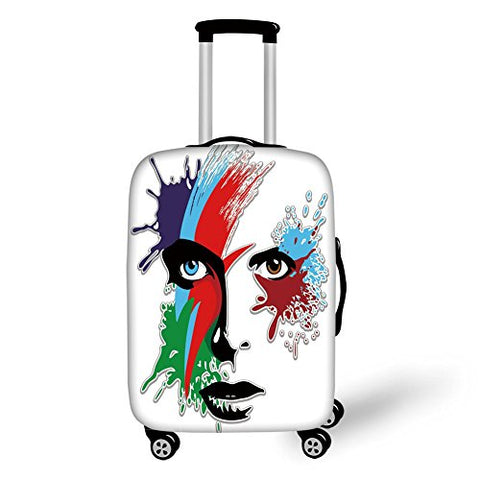Travel Luggage Cover Suitcase Protector,David Bowie Decor,Bowies Eyes Ziggy Stardust Expression