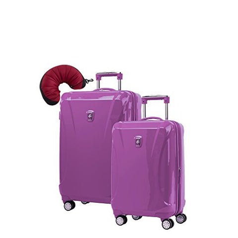 Atlantic Ultra Lite 4 Hardside 21 and 24-Inch Expandable Spinners, Travel Pillow (Bright Violet)