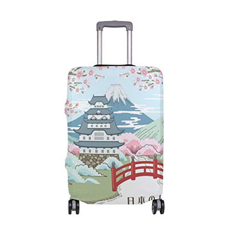 GIOVANIOR Japanese Cherry Blossoms Landscape Luggage Cover Suitcase Protector Carry On Covers