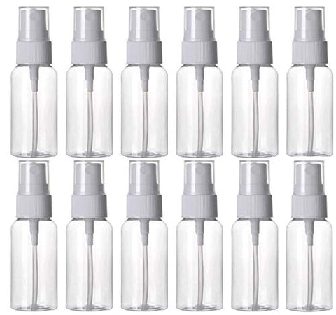 HOSL 1 Ounce Refillable Fine Mist Spray Bottle Perfume Sprayer Bottle Cosmetic Atomizers PET Spray Bottles Pump Pack of 12