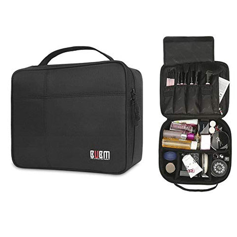 Travel Makeup Organizer Case, Portable Women Cosmetic Storage Bag, Train Case for Cosmetics