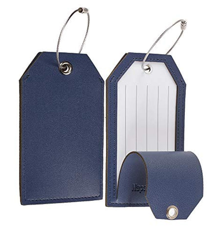 NapaWalli Leather Instrument Baggage Bag Luggage Tags with Privacy Cover 2 Pcs Set (Blue Navy)