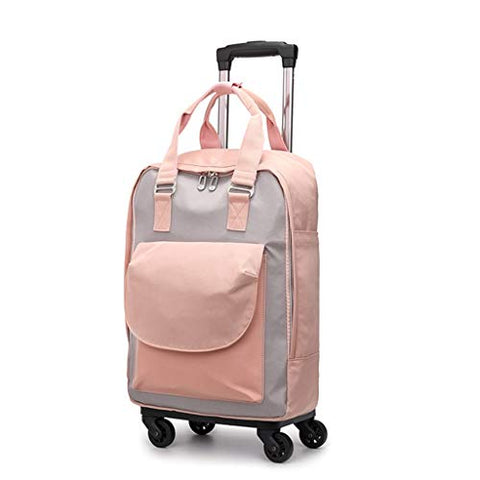 STATEGY Rolling Backpack,Waterproof Trolley Travel School Bag with Wheels Business Carry-on Rucksack Perfect for Men and Women (Color : Pink, Size : M)