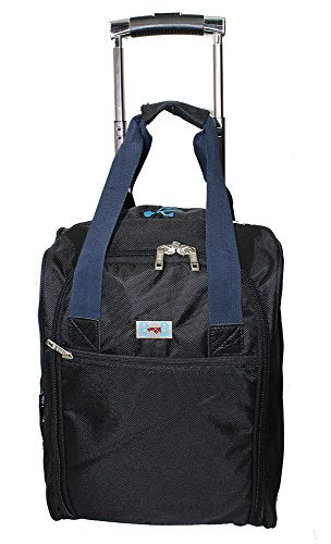 BoardingBlue Rolling Personal Item Under Seat for American, Spirit Frontier Airlines Black w Navy