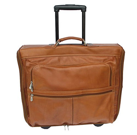 Piel Leather Traveler Garment Bag on Wheels in Saddle