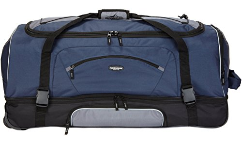 "Travelers Club 36"" ADVENTURE Double Packing Compartment Rolling Duffel, Navy with Gray Color Option"