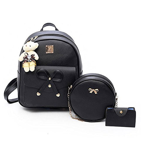 Girls Bowknot 3-Pieces Fahsion Leather Backpack Mini Backpack Purse For Women Beige