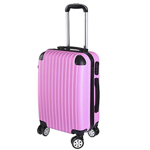 GHP Pink ABS Plastic Hard Shell Luggage Trolley Suitcase Bag with Rolling Wheels