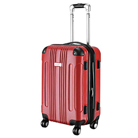 "Goplus 20"" ABS Carry On Luggage Expandable Hardside Travel Bag Trolley Rolling Suitcase GLOBALWAY (Red)"