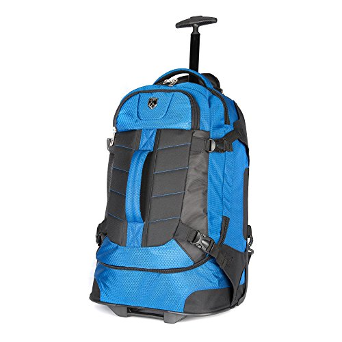 Travelers Polo & Racquet Club Aeros 21 Inch Softside Rolling Backpack, Blue