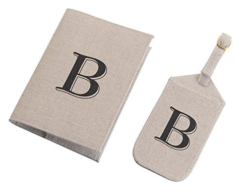 Lillian Rose Monogram Letter B Luggage Tag/Passport Cover, Tan