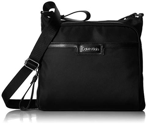Calvin Klein Lane Nylon North/South Messenger Crossbody, black/silver