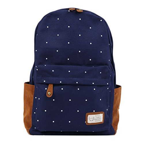 Damara Dots Canvas Fabric School Bags Backpack Rucksack,Navy Blue