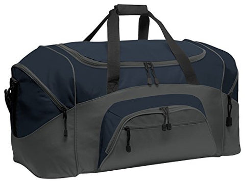 Port & Company Color Block Sport Zipper Duffel Bag_Navy/Dark Charcoal_Osfa