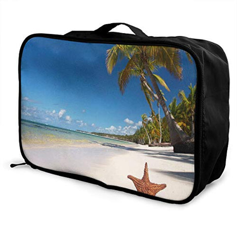 Travel Bags Beach Starfish Coconut Tree Portable Handbag Trolley Handle Luggage Bag