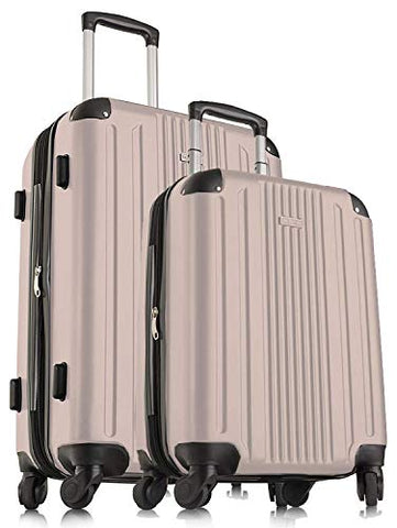 Travelcross Milano Luggage Expandable Lightweight Spinner Set - Champagne, 2 Piece (20''/ 28'')