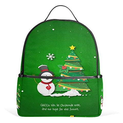 Snowman And Christmas Green Tree Backpack School Travel Bag Daypack for Women Girls Boys