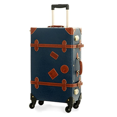 Unitravel Vintage Carry on Suitcase Spinner Duffle PU Trunk TSA Luggage with Strap