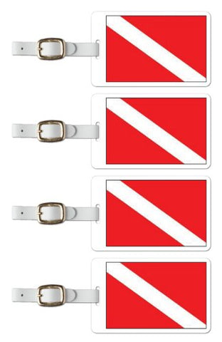Tag Crazy Scuba Diving Premium Luggage Tags Set Of Four, Red, One Size