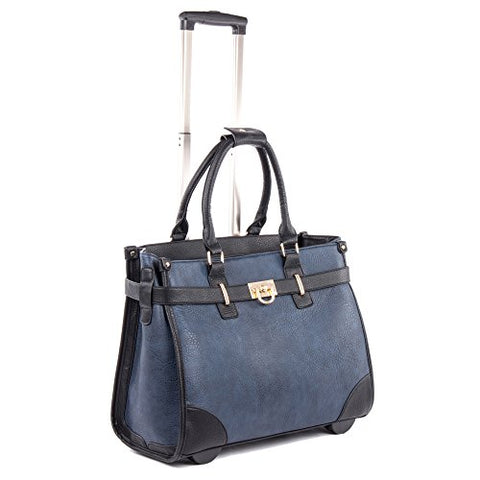 Bugatti Monica Ladies Business Bag On Wheels, Pebble Grain Synthetic Leather, Blue