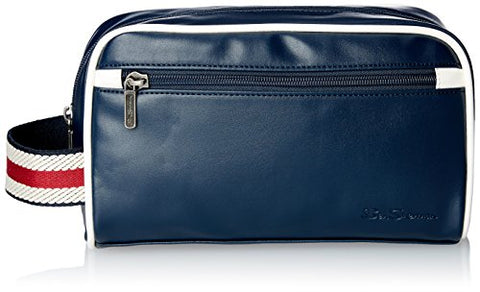 Ben Sherman Regent's Park Faux Leather Single Compartment Top Zip Travel Kit, Navy/White