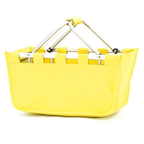Fashion Print Aluminum Frame Collapsible Design Utility Market Tote Basket (Monogrammed Solid Yellow)