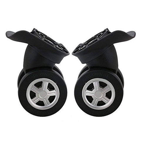 Doublelife 1Pair Luggage Suitcase Replacement Wheels 90 x 100 x 56mm Black Swivel Caster